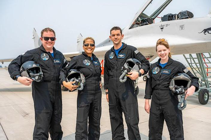 Sembroski, left, joined left to right by Proctor, Isaacman and Arceneaux underwent centrifuge training as well as flights in Isaacman's fleet of military jets to familiarize them with high accelerations. / Credit: Inspiration4