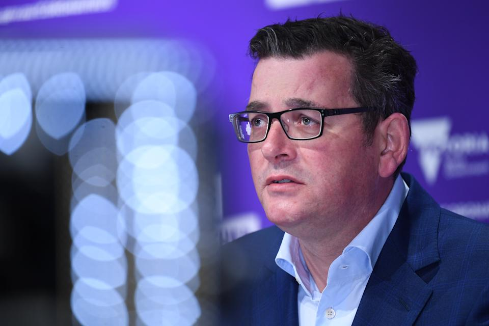 Victorian Premier Daniel Andrews addresses the media during a press conference in Melbourne.