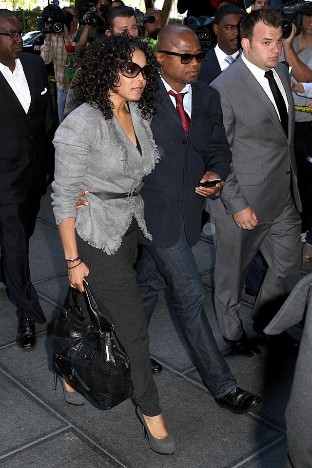 "The Jackson family, including Janet and Randy (pictured), were spotted Monday arriving at the Los Angeles County Superior Court for Dr. Conrad Murray's trial. In an interview with Oprah Winfrey, Janet said she holds Murray responsible for her brother Michael's death. Deano/Whittle/<a href=""http://www.splashnewsonline.com"" target=""new"">Splash News</a> - April 5, 2010"