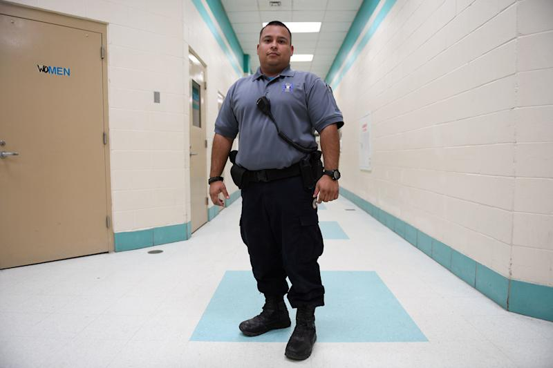 Jonathan Duran returned to work as a jailer at the Ector County Detention Center  in Odessa. It's a steadier job than oil field work. (Mark Sterkel/Odessa American)