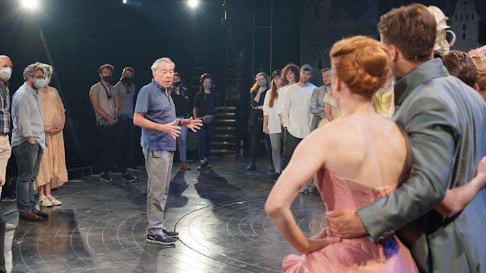 Andrew Lloyd Webber with the cast and crew of the Cinderella production at the Gillian Lynne Theatre in London.