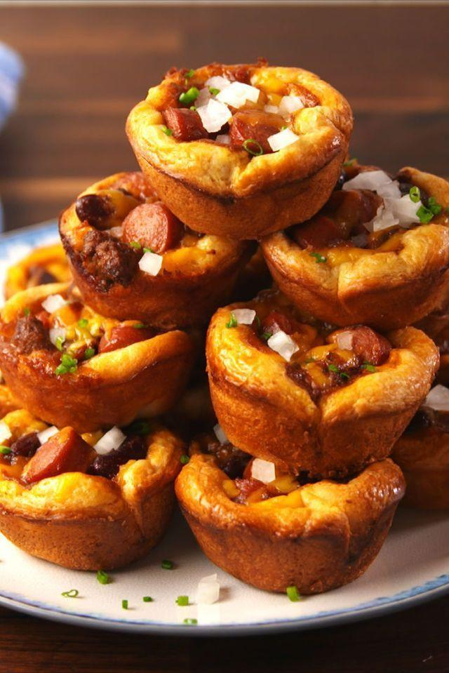 "<p>These bite-sized chili cheese dog cups are perfect appetizers and finger food if you're having a summertime get together, or if you're trying to feed kids in a way that makes them more excited for dinner. </p><p><strong><em>Get the recipe at <a href=""https://www.delish.com/cooking/recipe-ideas/recipes/a56269/chili-cheese-dog-cups-recipe/"" rel=""nofollow noopener"" target=""_blank"" data-ylk=""slk:Delish"" class=""link rapid-noclick-resp"">Delish</a>. </em></strong></p>"