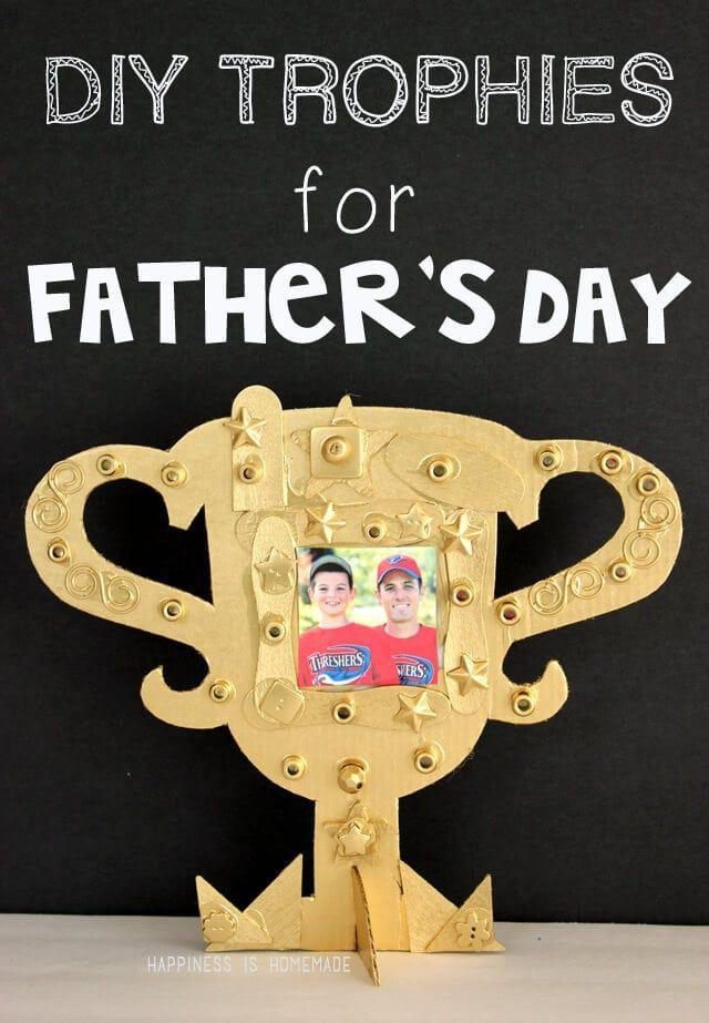 """<p>If your kids are feeling up for the challenge, then they can make their very own trophy for Dad in a few easy steps. </p><p><strong><em>Get the tutorial at <a href=""""https://www.happinessishomemade.net/kids-craft-diy-fathers-day-trophy/"""" rel=""""nofollow noopener"""" target=""""_blank"""" data-ylk=""""slk:Happiness Is Homemade"""" class=""""link rapid-noclick-resp"""">Happiness Is Homemade</a>. </em></strong></p><p><a class=""""link rapid-noclick-resp"""" href=""""https://www.amazon.com/Rust-Oleum-1910830-Spray-Paint-Each/dp/B000QD3GPW?tag=syn-yahoo-20&ascsubtag=%5Bartid%7C10070.g.2461%5Bsrc%7Cyahoo-us"""" rel=""""nofollow noopener"""" target=""""_blank"""" data-ylk=""""slk:SHOP METALLIC PAINT SPRAY"""">SHOP METALLIC PAINT SPRAY</a></p>"""