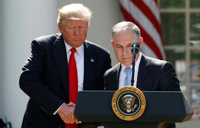 President Donald Trump and EPA Administrator Scott Pruitt announced the U.S. withdrawal from the Paris climate agreement in the White House Rose Garden in June.