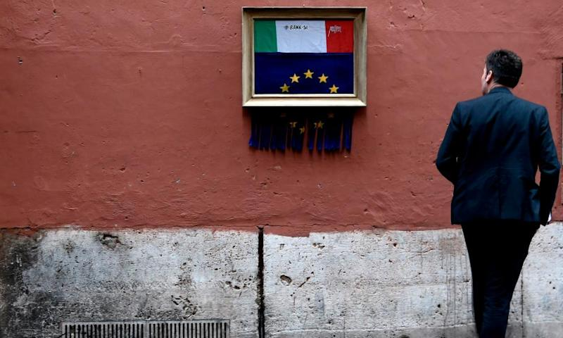 A street-art installation in Rome by Italian artist Maupal shows the EU flag being shredded and an Italian flag emerging to replace it