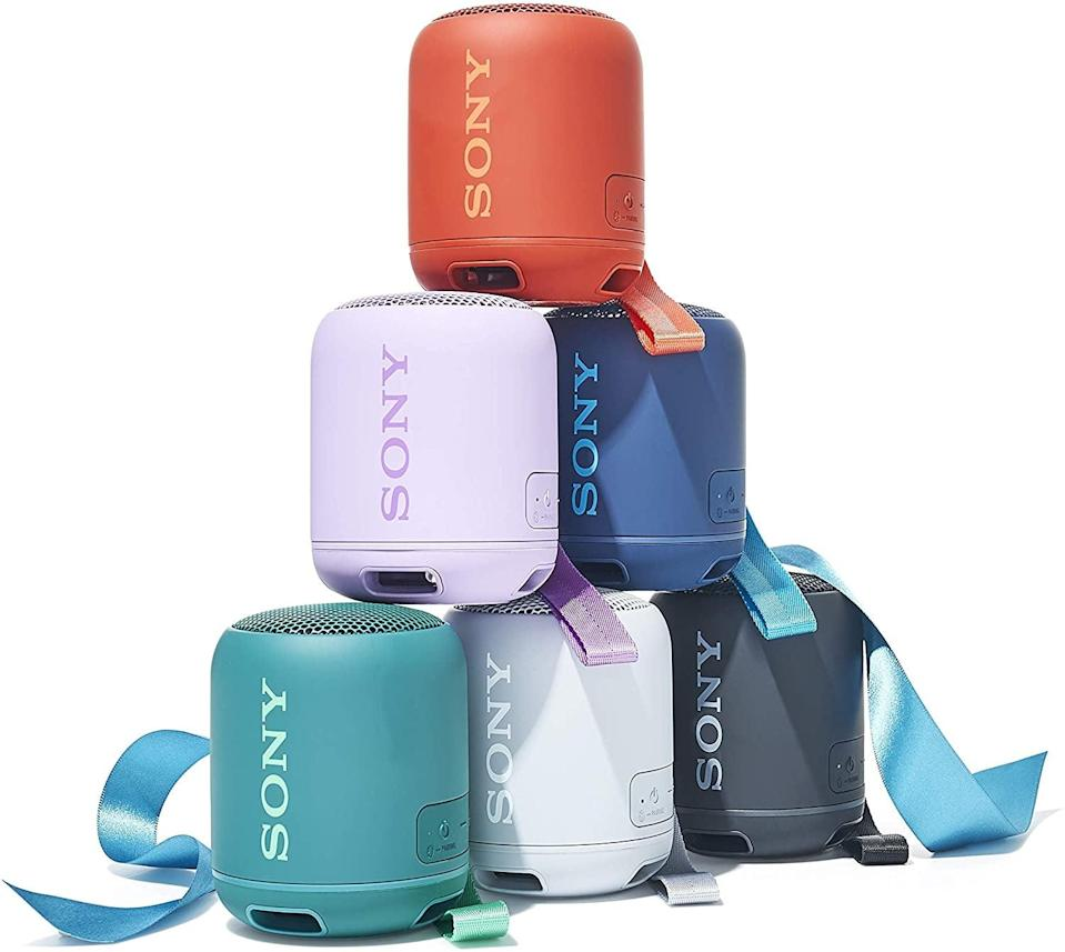 <p>The small but mighty <span>Sony SRS-XB12 Mini Bluetooth Speaker</span> ($38) has an extra loud bass and is waterproof and dustproof. No matter where you go, this speaker can fit right into your pocket.</p>