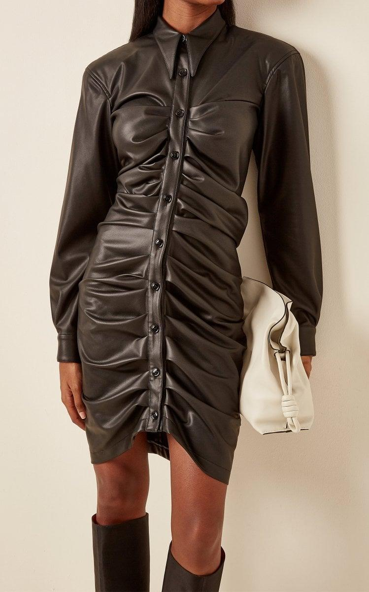 <p>This <span>Philosophy Di Lorenzo Serafini Ruched Eco-Leather Mini Shirt Dress</span> ($850) is so chic. Coming into fall, if you feel like splurging, this is the dress we have our eyes on right now.</p>