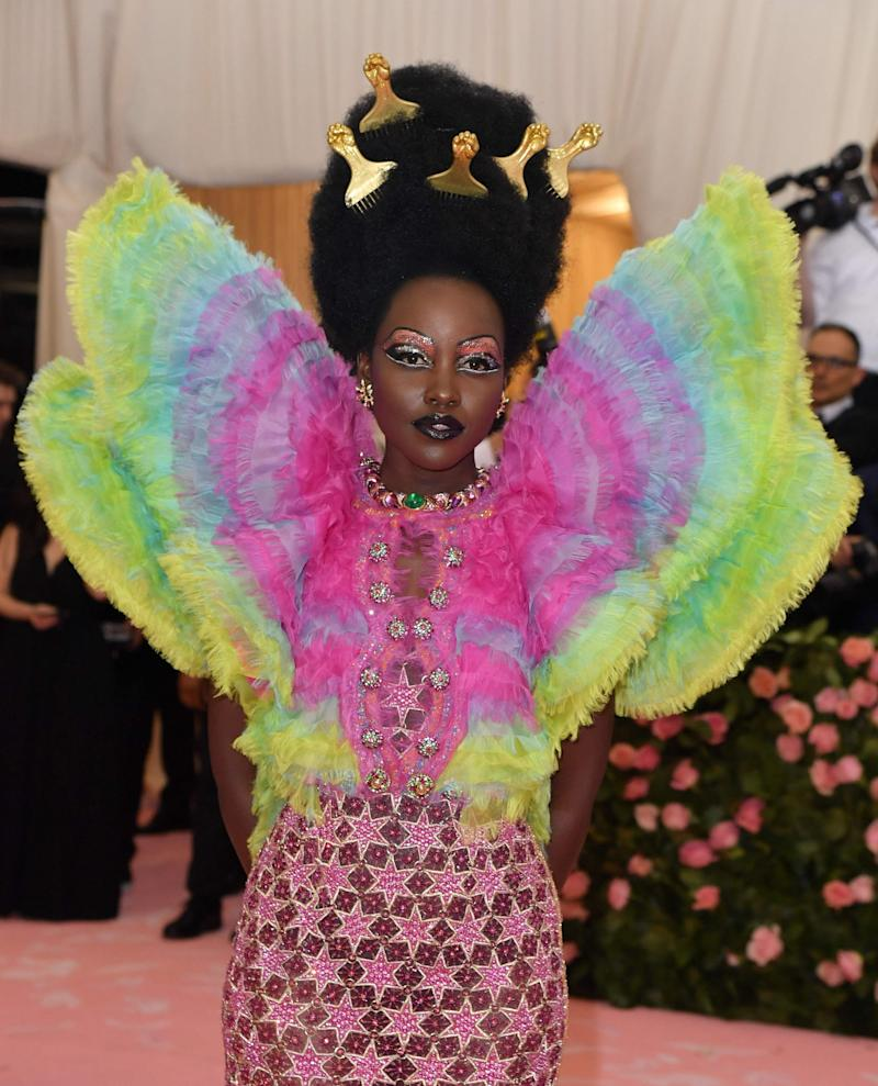 Lupita Nyong'o worked with hairstylist Francois Vernan to create her Met Gala afro (AFP/Getty Images)