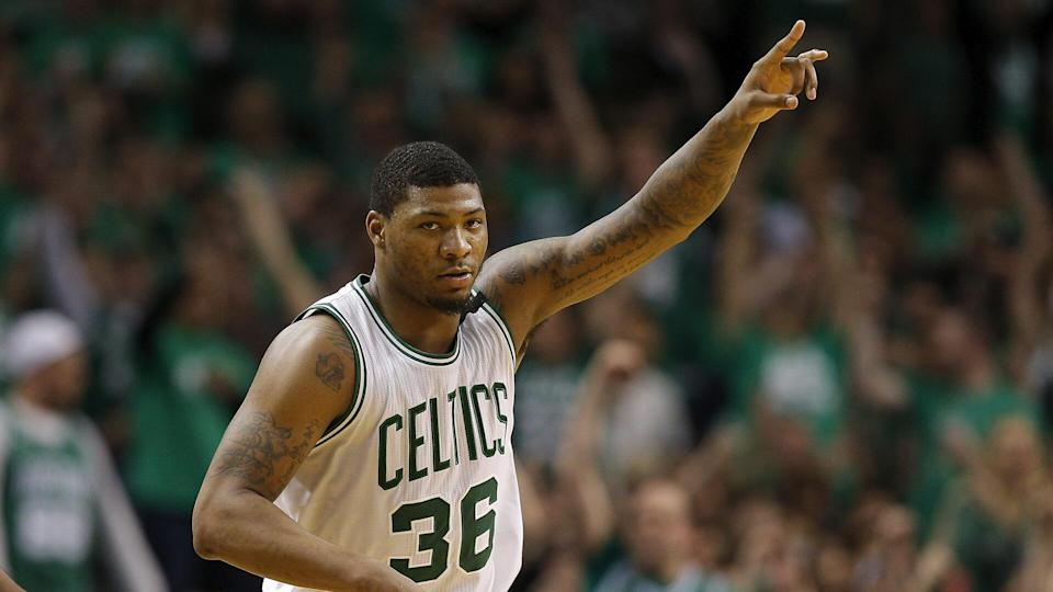 Marcus Smart Washington Wizards at Boston Celtics, USA - 10 May 2017Boston Celtics guard Marcus Smart gestures after making a three point shot during the second half of their NBA Eastern Conference Semifinal game against the Washington Wizards at the TD Garden in Boston, Massachusetts, USA, 10 May 2017.