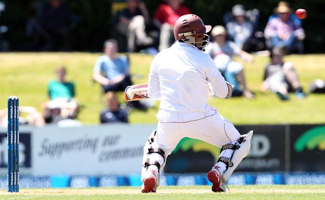 DUNEDIN, NEW ZEALAND - DECEMBER 05: Shivnarine Chanderpaul of the West Indies ducks under a bouncer during day three of the first test match between New Zealand and the West Indies at University Oval on December 5, 2013 in Dunedin, New Zealand. (Photo by Rob Jefferies/Getty Images)