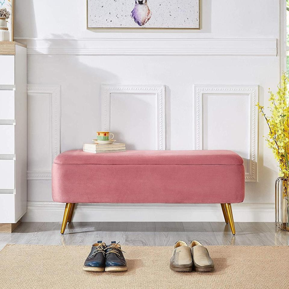 <p>If you love pink, then no doubt you need the <span>Ball &amp; Cast Upholstered Velvet Storage Bench</span> ($146, originally $159).</p>