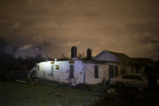 Storm-damaged houses are seen in Nashville, Tennessee