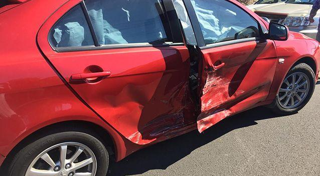 The red car following the crash. Source: Supplied/ Sophie Kinnane