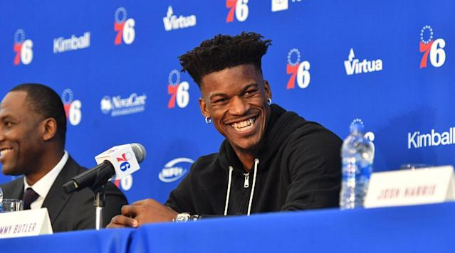 Jimmy Butler appeared in his first press conference as a Philadelphia 76er on Tuesday after his trade from the Timberwolves. He took questions regarding his goals with the team, his new teammates and much more from reporters.