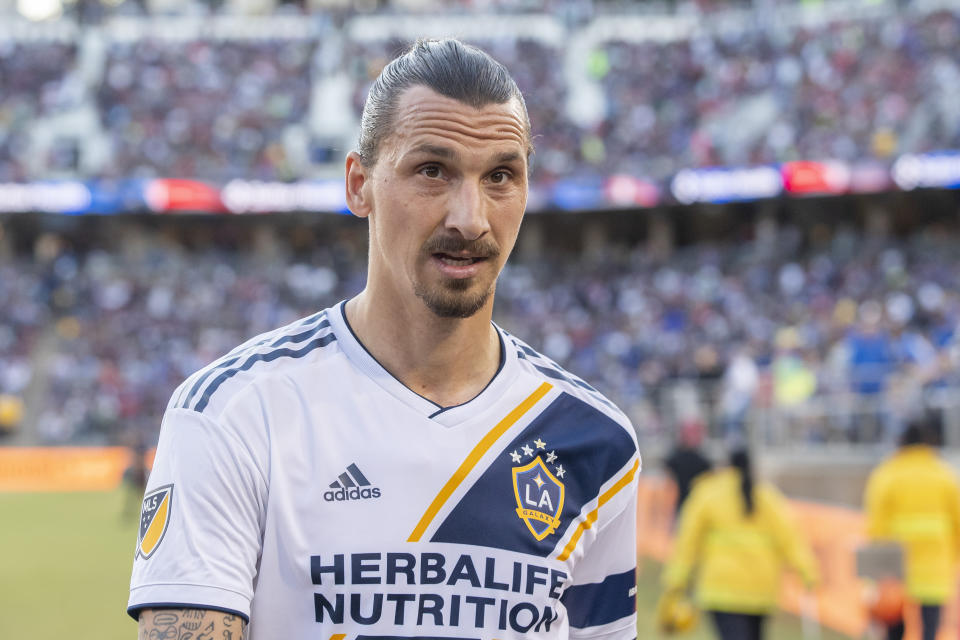PALO ALTO, CA - JUNE 29: Los Angeles Galaxy forward Zlatan Ibrahimovic (9) heads into the tunnel at halftime of the MLS game between the Los Angeles Galaxy and San Jose Earthquakes on June 29, 2019 at Stanford Stadium in Palo Alto, CA (Photo by Bob Kupbens/Icon Sportswire via Getty Images)