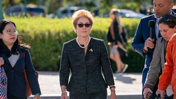 PHOTO: Former U.S. ambassador to Ukraine Marie Yovanovitch, center, arrives on Capitol Hill, Friday, Oct. 11, 2019, in Washington, to testify as part of the House impeachment inquiry into President Donald Trump. (J. Scott Applewhite/AP)