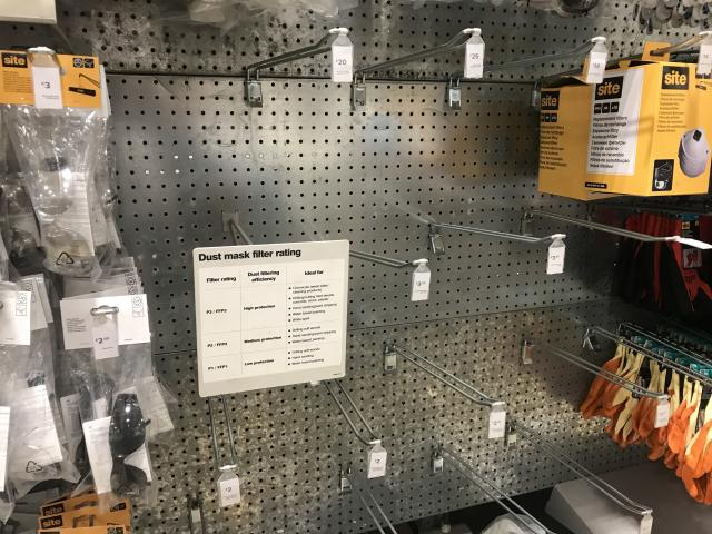 Empty racks where face masks are usually sold at a DIY store in west London (PA)
