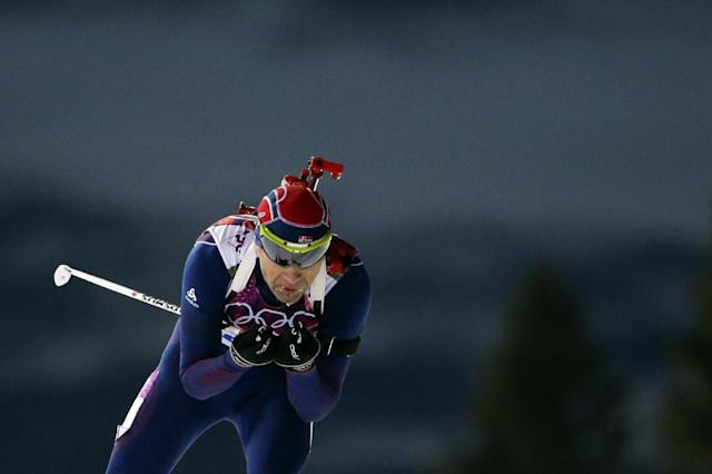 Norway's Ole Einar Bjoerndalen competes on his way to win the gold medal in the men's biathlon 10k sprint, at the 2014 Winter Olympics, Saturday, Feb. 8, 2014, in Krasnaya Polyana, Russia. (AP Photo/Felipe Dana)