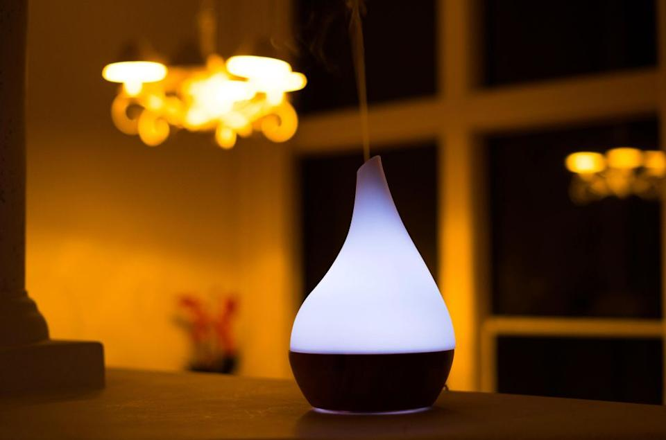 """If <a href=""""https://www.huffpost.com/entry/best-cute-essential-oil-diffusers-2020_l_5f8f2ed2c5b62dbe71c6beea"""" target=""""_blank"""" rel=""""noopener noreferrer"""">you don't trust yourself with candles</a>, turn to a diffuser for sweet smells. Thisdiffuser sends out a mist to purify and humidify your space with essential oils. It has abamboo base and glass cover, along with color-changingLED lights.And now it's more than 40% off. <a href=""""https://fave.co/3mhlS8w"""" target=""""_blank"""" rel=""""noopener noreferrer"""">Originally $69, get it now for $40 at The Home Depot</a>."""
