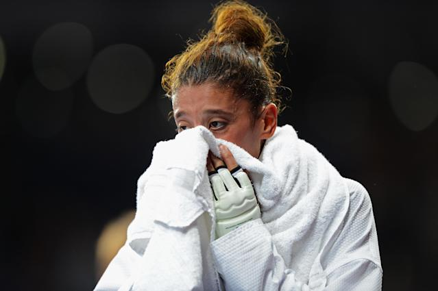 Nur Tatar of Turkey cries after losing the Women's -67kg Taekwondo Gold Medal Final on Day 14 of the London 2012 Olympic Games at ExCeL on August 10, 2012 in London, England. (Photo by Michael Regan/Getty Images)