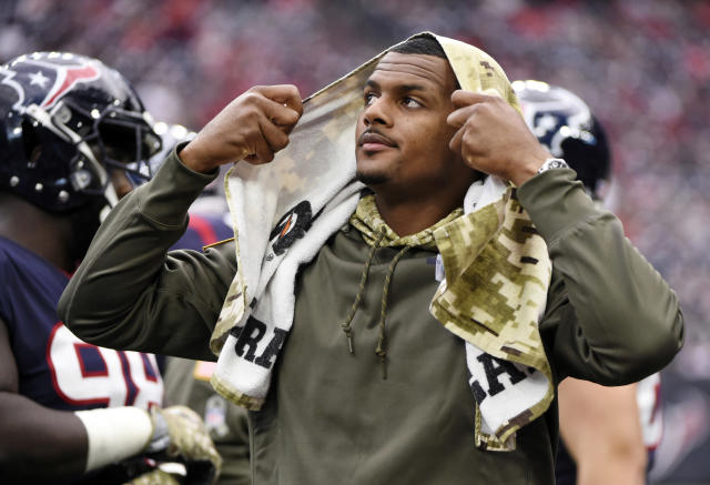 Houston Texans Deshaun Watson and J.J. Watt were jogging at the team facility on Thursday, showing progress after both suffered season-ending leg injuries. (AP)