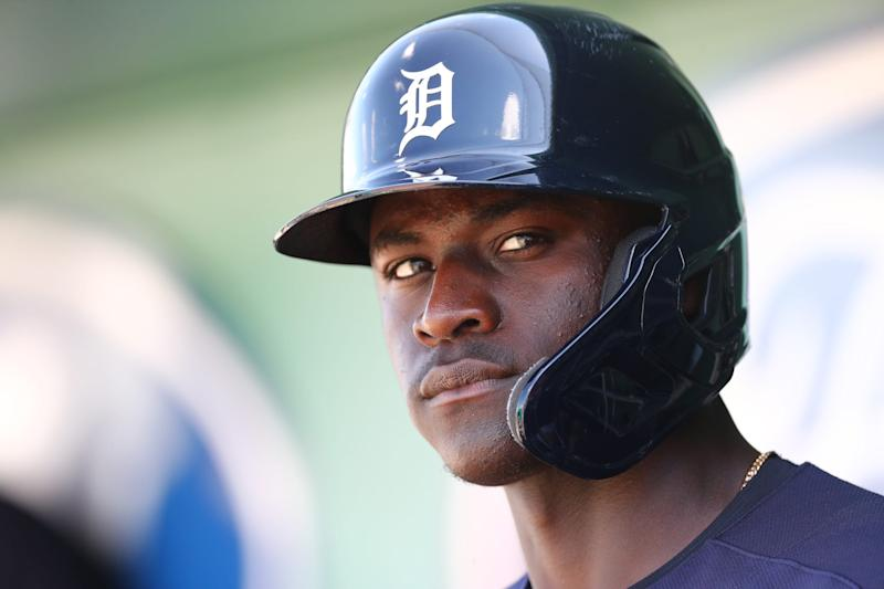 Tigers center fielder Daz Cameron looks on while in the hole in the dugout to bat during the first inning against the Boston Red Sox on Wednesday, March 4, 2020, at JetBlue Park in Fort Myers, Florida.