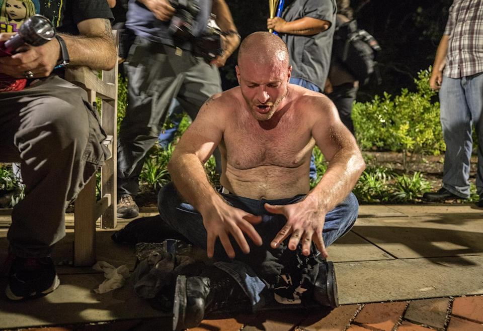Christopher Cantwell, now a defendant in the Charlottesville suit, at the Unite the Right rally on Aug. 12, 2017 - Credit: Evelyn Hockstein/The Washington Post/Getty Images