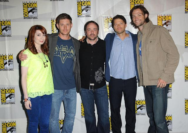 "Felicia Day, Jensen Ackles, Mark Sheppard, Misha Collins and Jared Padalecki at the ""Supernatural"" panel during Comic-Con International 2013 at San Diego Convention Center on July 21, 2013 in San Diego, California."