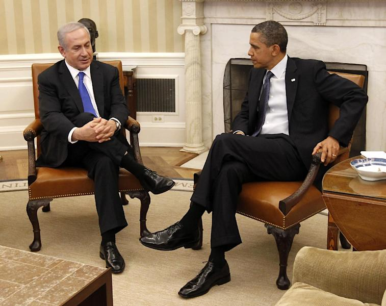FILE - In this March 5, 2012 file photo, President Barack Obama meets with Israeli Prime Minister Benjamin Netanyahu in the Oval Office of the White House in Washington. President Barack Obama's re-election leaves Israel's prime minister in a bind. Benjamin Netanyahu has clashed with Obama and was widely seen as backing challenger Mitt Romney. In coming months, however, Netanyahu will need American support as the Palestinians seek upgraded U.N. recognition and the world grapples with Iran's nuclear program.(AP Photo/Pablo Martinez Monsivais, File)