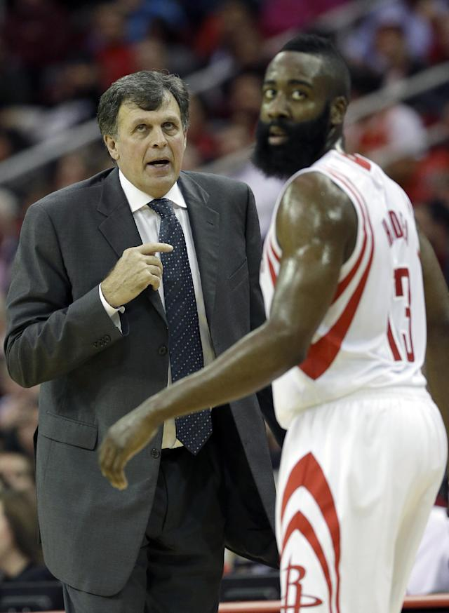 Houston Rockets coach Kevin McHale, left, talks to James Harden in the first half of an NBA basketball game against the Chicago Bulls, Wednesday, Dec. 18, 2013, in Houston. (AP Photo/Pat Sullivan)
