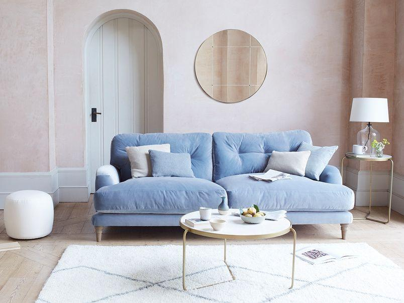 """<p>The third most sought-after colour or 2021 is classic blue. Another versatile choice, deep blue velvet sofas are luxurious, pillowy powder blue sofas are a bit more country cosy, and greener variations like a teal or sapphire, introduce richer undertones that sit well with a collection of indoor plants and natural materials.</p><p>Pictured: <a href=""""https://loaf.com/products/sugar-bum-sofa?slide=1"""" rel=""""nofollow noopener"""" target=""""_blank"""" data-ylk=""""slk:Sugar Bum Sofa at Loaf"""" class=""""link rapid-noclick-resp"""">Sugar Bum Sofa at Loaf</a></p>"""