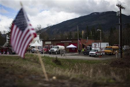 A view of the fire station for the all-volunteer 15-person Oso Fire Department who were the first responders to the massive mudslide in Oso, Washington, April 4, 2014. Rescue and recovery efforts have entered their 14th day on the massive Oso mudslide with about 30 confirmed dead and 17 still missing. REUTERS/Max Whittaker