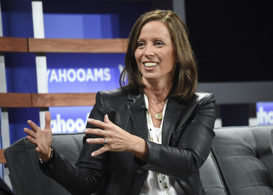 NASDAQ president and CEO Adena Friedman participates in the Yahoo Finance All Markets Summit at Union West on Thursday, Oct. 10, 2019, in New York. (Photo by Evan Agostini/Invision/AP)