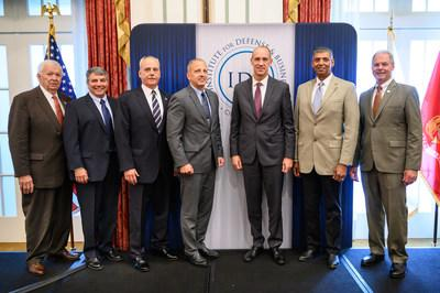The 2019–2020 IDB Executive Fellows are pictured here with IDB's Board Chairman and President. Left to right: IDB Board Chairman Thomas W. Bradshaw, Jr.; Rear Admiral Michael J. Haycock, USCG (Ret); Rear Admiral Michael J. Lyden, USN (Ret); Lieutenant General Michael G. Dana, USMC (Ret); Lieutenant General John B. Cooper, USAF (Ret); General Vincent K. Brooks, USA (Ret); and Major General James L. Hodge, USA (Ret) IDB President.