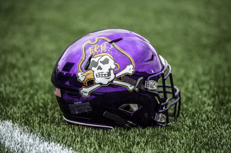 ANNAPOLIS, MD - SEPTEMBER 14: A detailed view of a East Carolina Pirates helmet at Navy-Marine Corps Stadium on September 14, 2019 in Annapolis, Maryland (Photo by Benjamin Solomon/Getty Images)