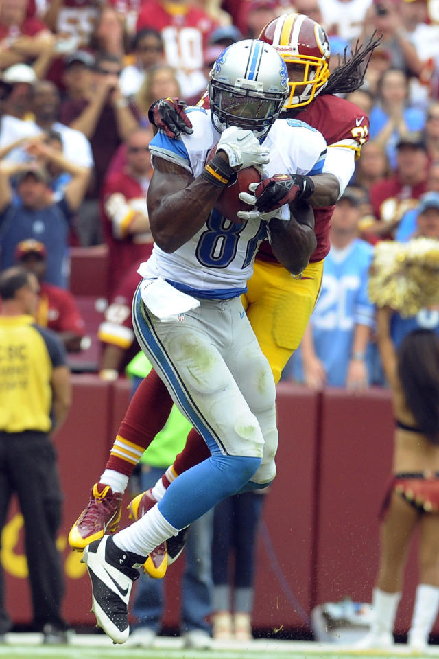 Detroit Lions wide receiver Calvin Johnson pulls in a touchdown pass under pressure from Washington Redskins strong safety Brandon Meriweather during the second half of a NFL football game in Landover, Md., Sunday, Sept. 22, 2013. (AP Photo/Richard Lipski)