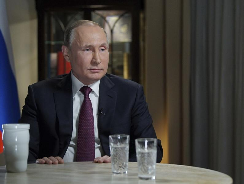 <p> In this photo taken on Friday, March 2, 2018 and released Saturday, March 10, 2018, Russian President Vladimir Putin speaks during an interview with NBC News' Megyn Kelly in Kaliningrad, Russia. In the some times combative interview Putin denied the charge by U.S. intelligence services that he ordered meddling in the November 2016 vote, claiming any interference was not connected to the Kremlin. (Alexei Druzhinin, Sputnik, Kremlin Pool Photo via AP) </p>
