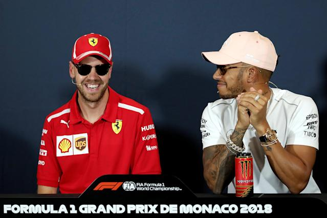 Formula One F1 - Monaco Grand Prix - Circuit de Monaco, Monte-Carlo - May 23, 2018 Ferrari's Sebastian Vettel and Mercedes' Lewis Hamilton during a news conference ahead of the Monaco Grand Prix. REUTERS/Benoit Tessier