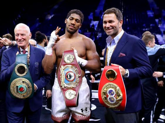 Barry Hearn celebrates with Anthony Joshua after victory over Andy Ruiz (Getty)