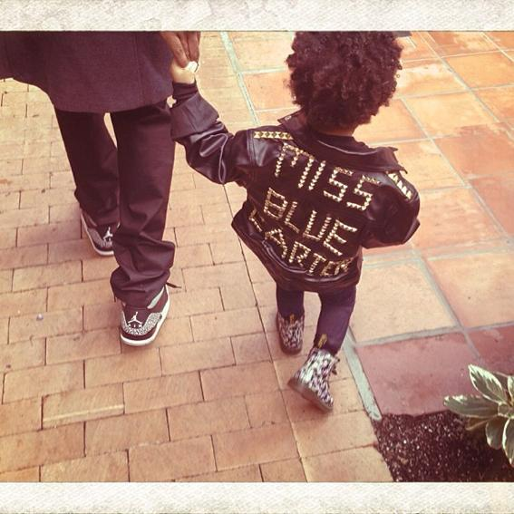 <p>Blue steps up her fashion game dressed in a custom moto jacket and floral Doc Martens.</p>