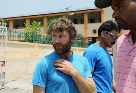 British Climber and expedition's deputy leader, Mark Thomas leaves after his meeting with government officials and rescue team in Pithoragarh