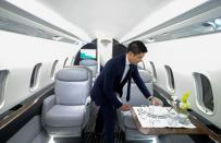 FILE PHOTO: Bombardier unveils a mockup of its new Challenger 3500 business jet in Montreal