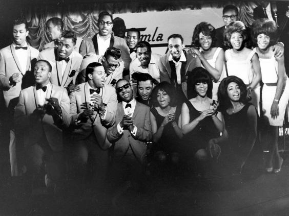 Stevie Wonder, the Supremes, the Temptations, Martha Reeves and the Vandellas and Smokey Robinson, pictured during rehearsals in London for the 1965 TV special 'Sounds of Tamla Motown' (Rex)