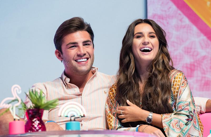 LONDON, ENGLAND - AUGUST 10: Jack Fincham and Dani Dyer during the 'Love Island Live' photocall at ICC Auditorium on August 10, 2018 in London, England. (Photo by Samir Hussein/WireImage)