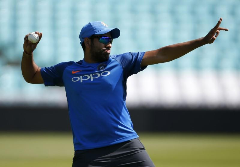 FILE PHOTO: India's Rohit Sharma during nets