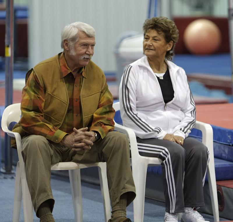 HUNTSVILLE, TX - JANUARY 26: Martha & Bela Karolyi watch from the side as their facility Karolyi Ranch was named an official training site for USA Gymnastics on January 26, 2011 in Huntsville, Texas. (Photo by Bob Levey/Getty Images for Hilton)