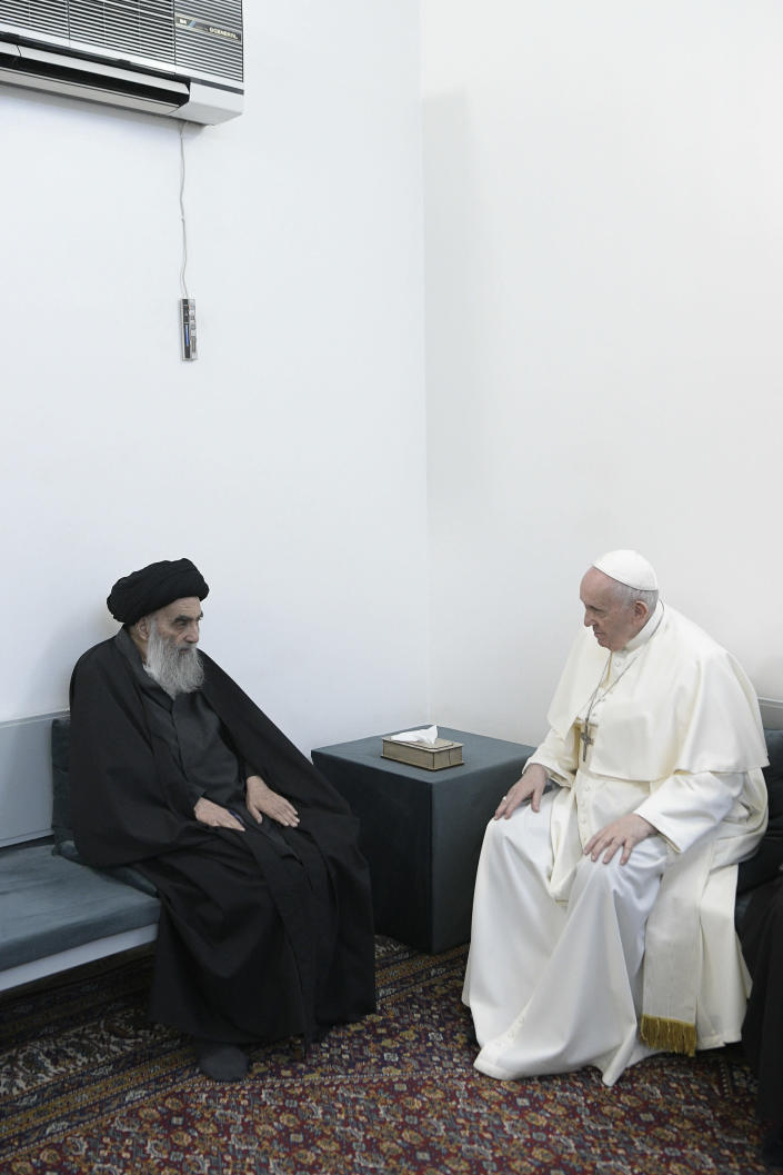Pope Francis meets with Iraq's leading Shiite cleric, Grand Ayatollah Ali al-Sistani in Najaf, Iraq, Saturday, March 6, 2021. The closed-door meeting was expected to touch on issues plaguing Iraq's Christian minority. Al-Sistani is a deeply revered figure in Shiite-majority Iraq and and his opinions on religious matters are sought by Shiites worldwide. (AP Photo/Vatican Media)