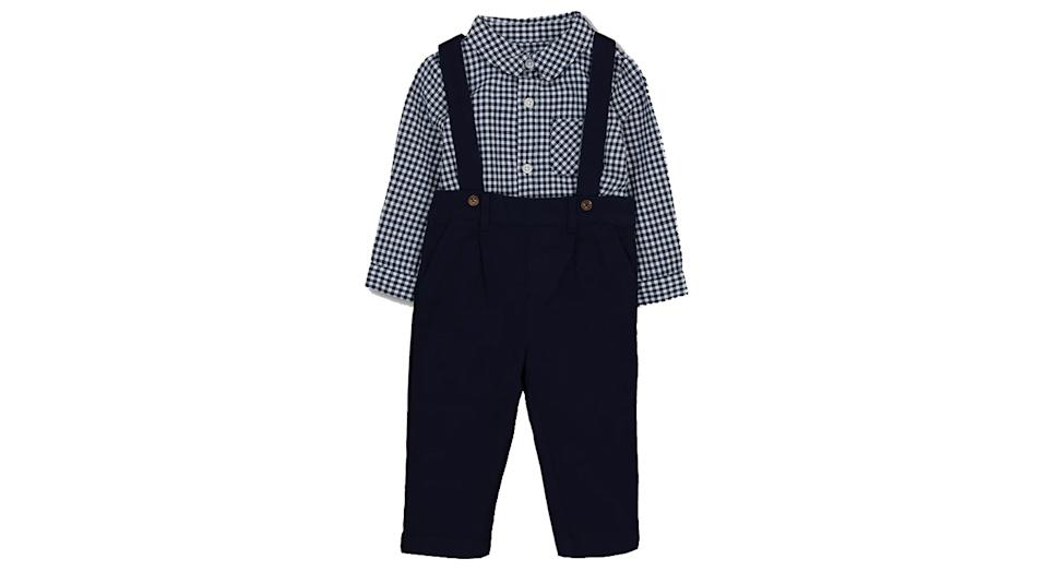Navy Dungarees & Check Bodysuit