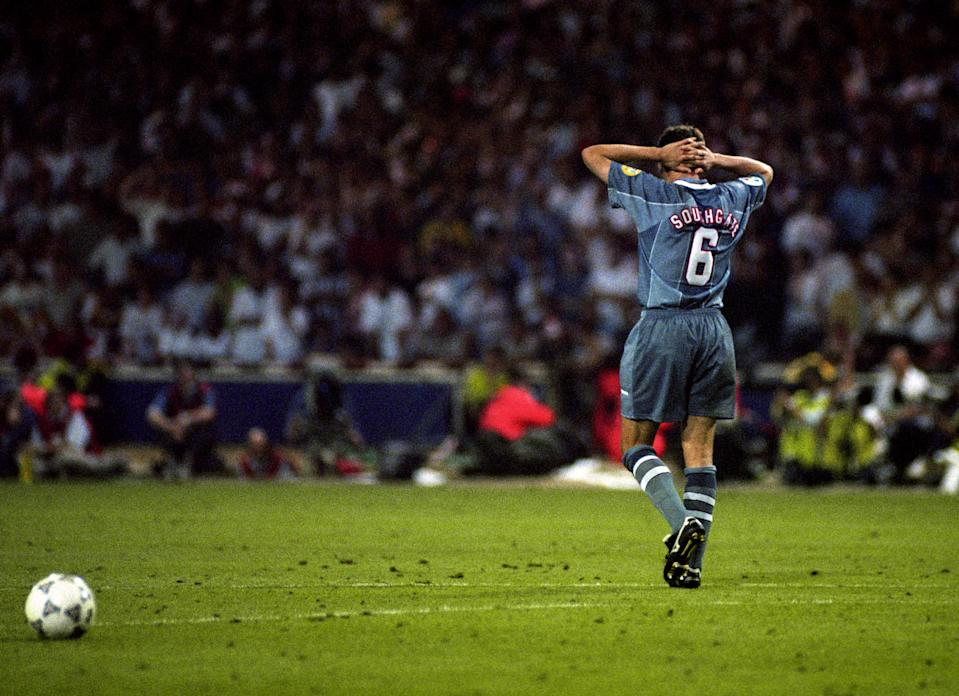 Gareth Southgate dejected after failing to score in the penalty shoot out between England and West Germany in the semi final of the Euro 96 championship.   (Photo by Neil Munns - PA Images/PA Images via Getty Images)