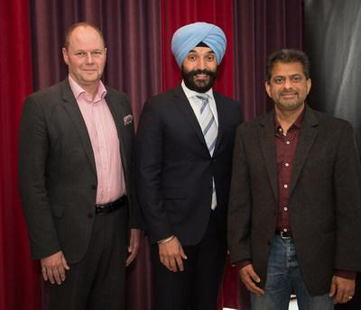 Ericsson unveils Global Artificial Intelligence Accelerator in Montreal : (from left to right) - Graham Osbourne, Head of Ericsson Canada; The Honourable Navdeep Bains, Minister of Innovation, Science and Economic Development; Nimish Radia, Head of Global AI Accelerator North America for Ericsson (CNW Group/Ericsson Canada)